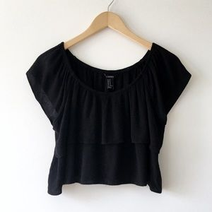 Forever 21 Black Off the Shoulder Ruffle Crop Top